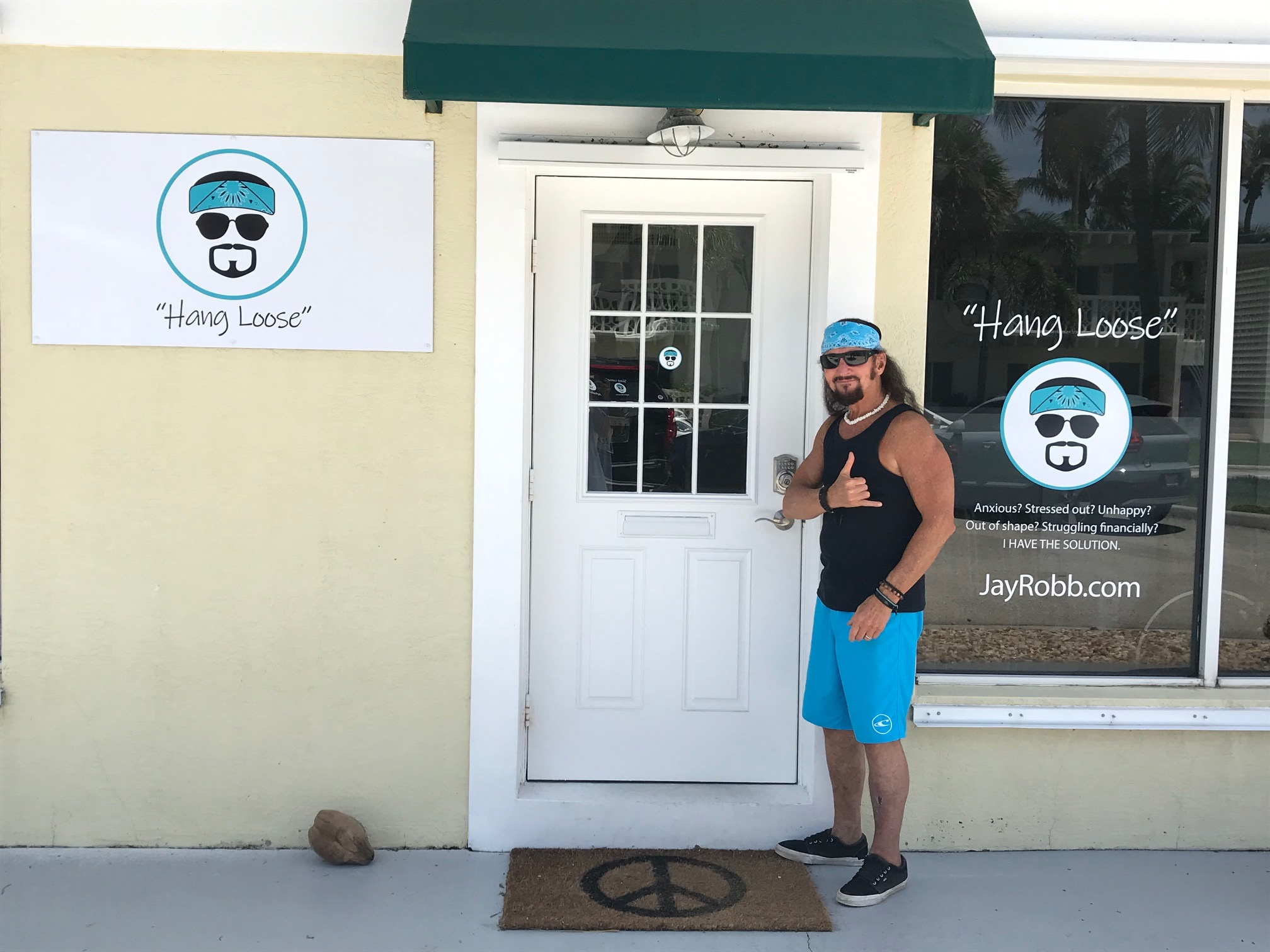 Jay Robb in Front of Hang Loose Gift Shop